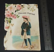 CHROMO CHOCOLAT CACAO PAYRAUD 1900-1910 FILLETTE CHASSE AUX PAPILLONS