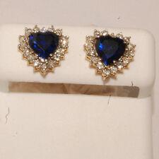 14k yellow Gold and diamond ladies earrings stud earrings in heart shap  studs