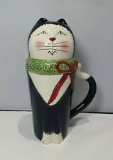 "9� Oneida Hand-painted ""Christmas Cats"" Covered Cat Mug, New."