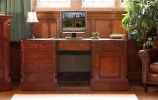La Roque Premium Solid Mahogany Dark Wood Large Twin Pedestal Home Office Desk