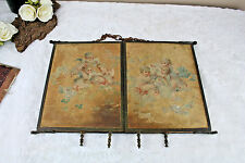 Gorgeous Rare antique French barber triptych mirror chromo on silk putti angels