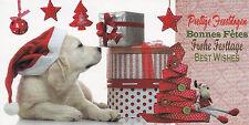 Briefkarte mit Umschlag: ein Hund mit Weihnachtsmütze und Geschenken - Glimmerka
