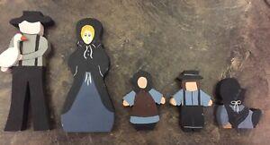 Handmade Amish Family Of 5 Faceless  Pennsylvania Dutch