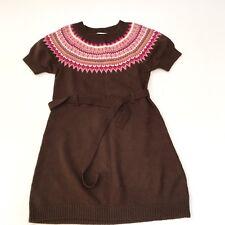H&M Dress Sweater Girl 2 3 Fair Isle Holiday Toddler Brown Pink Acrylic Belt 650