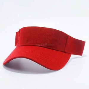 Visor Sun Hat Golf Tennis Beach Mens Cap Adjustable Summer Plain Colors Polo