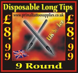 Disposable Long Tips 9 Round  -  Box of 50  - (Tattoo Needles - Tattoo Supplies)