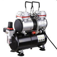 1/3 HP Two Piston Airbrush Compressor Cylinder w/ 3.5L Air Tank Portable