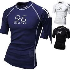 Mens Beach Water Sports Rash Guard Wetsuits Short Sleeve Swimwear Tops T530 S/M