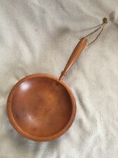 "Vintage Munising Footed Wood Bowl Handle 9"" round x 15"""
