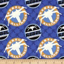 """The Dark Side glow Rebel Alliance Blue Camelot 100% cotton Fabric Remnant 24"""""""