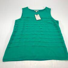 Dana Buchman Womens Green Sleeveless  Blouse Shirt Size Large NWT