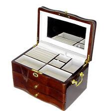 New Large Solid Timber Wooden Jewellery Gift Box Piano Finish Walnut JB 015 3.5k