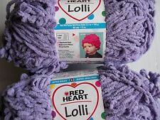 Red Heart Lolli baby textured plush yarn, Grape, lot of 2 (80 yds each)