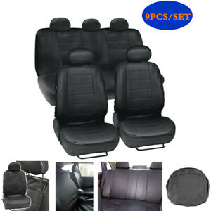 9PCS/Set PU Leather Car Seat Cover Full Set Front Rear Seat Cushion Protector