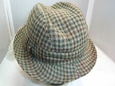 VINTAGE ABERCROMBIE & FITCH Men's Tweed Check Hat Fedora Cap Side Detail SZ 7.5