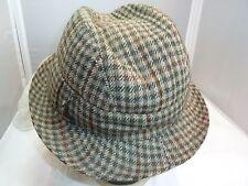 VINTAGE ABERCROMBIE & FITCH Men's Tweed Check Hat Fedora Cap Side Detail SZ 7.5