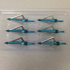 Blue 6pcs hunting arrow broadheads 100Grain 3 blade - Saturday