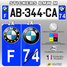 Stickers Logo BMW - Stickers Plaque D'immatriculation BMW 4 pièces 45x100 mm