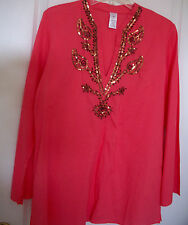 NEW $49 Coral Tunic Top Pullover Embellished Brown  Cotton Shirt Boho Hippie