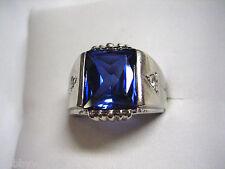 VINTAGE 10K WHITE GOLD DASON DIAMOND SAPPHIRE BLUE COLOR GEMSTONE RING SIZE 8