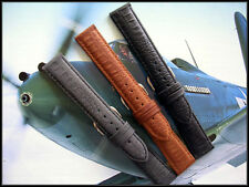 17mm Black Distressed Leather Aviator Pilot watch band IW SUISSE 16-18-19-20-22