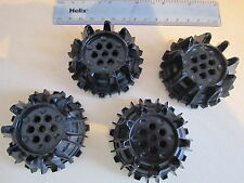 Lego 4 Technic Black Caterpillar Track Wheel Plastic Small Cleats and Flanges