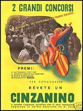 PUBBLIITA'1938 CINZANINO CINZANO GIRO D'ITALIA TOUR DE FRANCE CICLISMO NICO EDEL