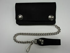 """6"""" America Made Leather Trucker Chain Wallet, Buffalo Nickel Snaps"""