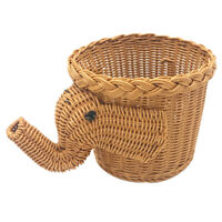 1X(Handmade Bamboo Elephant Wicker Picnic Basket Food Bread Camping Picnic