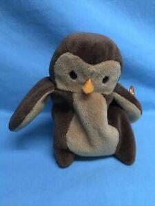 "TY Original Beanie Baby HOOT The Owl 5.5"" Retired PVC Pellets Error Tag 1995 NEW"