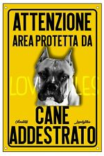 AMSTAFF AREA PROTETTA TARGA ATTENTI AL CANE CARTELLO PVC GIALLO