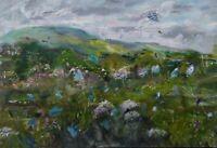 ORIGINAL SIGNED Impressionism Harebells & Yarrow, Wensleydale OIL. Yorks Dales