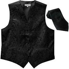 New Men's Formal Vest Tuxedo Waistcoat_necktie paisley pattern wedding black