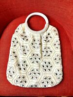 Vintage 70's Silver Beaded Honeycomb Cream/Yellow Hoop Handle Purse Handbag