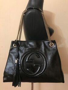 Authentic Gucci Soho chain tassel medium black  patent leather shoulder bag