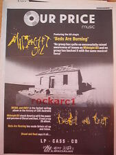 """MIDNIGHT OIL Beds Are Burning (Our Price) 1989 Poster size Press ADVERT 16x12"""""""