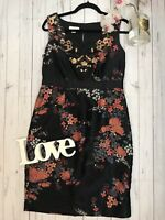 Stunning Monsoon Size 12 black oriental floral sequin party occasion black dress
