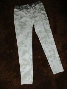 Under Armour HeatGear men's size large, gray/white camo compression leggings