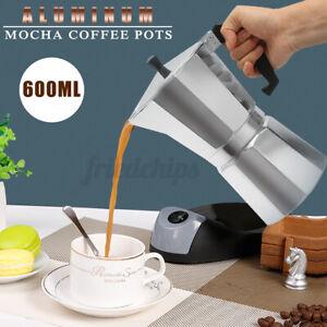 US 600ML 12 Cups Aluminium Moka Espresso Coffee Maker Stove Top Pot Cafetera