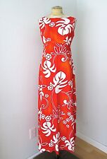 MINTY Vtg 60s Mod Orange Cotton Barkcloth Floral Hawaiian Luau Empire Dress S