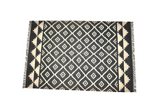 Handmade Kilim Wool Jute Area Floor Rug Home Decor Hand Knotted Geometric