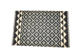 Handmade Kilim Wool Jute Area Floor Rug Home Decor Hand Knotted Geometric