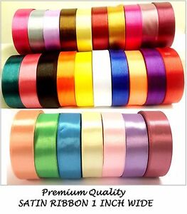 Premium Quality Roll 25mm Satin ribbon 22m / 25 rolls single faced party craft
