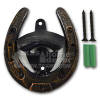 Lucky Horseshoe Cast Iron Beer Bottle Opener Wall Mounted Sturdy Metal w/ Screws