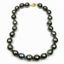 """18"""" 14-15mm Baroque Tahitian Black Pearl Strand Nacklace W/ 14K Gold Clasp"""