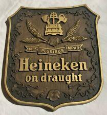 """Vintage Heineken Beer Bar Sign. """"On Draught"""". Excellent!"""