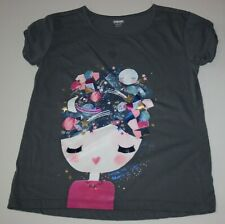 Used Gymboree Girls 10 12 Year Top Space Moon Planets Girl Face Soft Gray