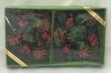 +Vintage Pair of Plastic Wreath Candle Ring With Holly Berries Pine Cones NIP