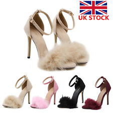 Womens Ladies Block High Heel Stiletto Ankle Strap Fluffy Fur Shoes Sandal Party