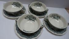 4 Suppen Tassen D 12,5 cm mit Unterteller Masons Ascot grün England Ironstone 3